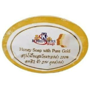 Pure Gold Soap Honey Reduce Freckles White Face, Acne, Body Wash Thailand 30 g