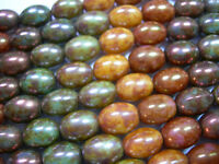 15 10x7mm Rainbow Picasso Luster Rice Oval Czech Glass Beads