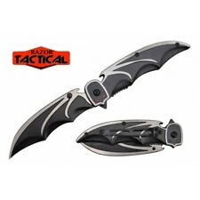 BAT STYLE SPRING OPEN ASSISTED DUAL BLADE FOLDING KNIFE EDC DARK KNIGHT NEW man