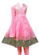 Girls' Designer Salwar Kameez Indian Party Dress Clothing Pink and Gold Design