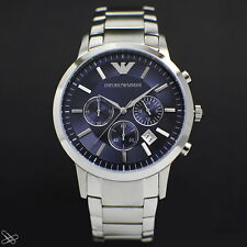 Emporio Armani Men's Renato Chronograph Watch AR2448 Stainless Steel/blue