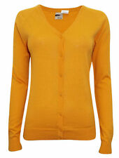 New Womens ladies knitted mustard Pure COTTON fine knit Cardigan size 10 -16