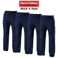 Mens Hard Yakka Legends Light Weight Cotton Pants 4 Pk Tough Cordura Work Y02906