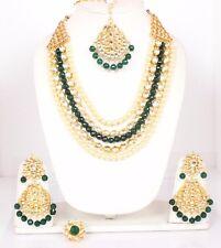Indian Bollywood Kundan Rani Haar Green Necklace Earring Tikka Ring Set Jewelry