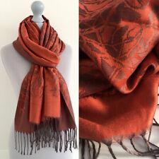 Large Orange Rust Pashmina Scarf Wrap Evening Shawl Long Plain Reversible Cotton