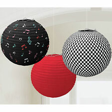 3 Classic 50's 50s 1950's Rock Roll Party Hanging Paper Ball Lantern Decorations