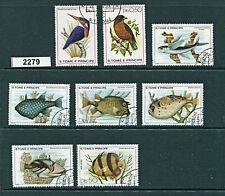 2279-S.Tome E Principe-8 birds & fish-used/CTO-1979