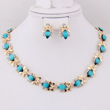 African Women Jewelry sets 18K Gold Plated Blue Resin Necklace Earrings A2004BU