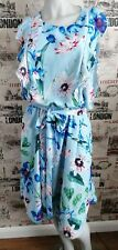 H&M Maternity Nursing Mama Light Blue Floral Print Frill Dress size L 14-16 UK