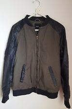 Forever 21 Olive Green Colorblock Black Diamond Quilt Faux Leather Bomber Jacket