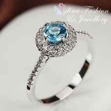 18K White Gold Plated Made With Swarovski Crystal Delicate Aquamarine Halo Ring