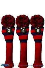 Hybrid golf club headcover THROWBACK 3 PC RESCUE BLUE RED 3 4 5 KNIT Head cover