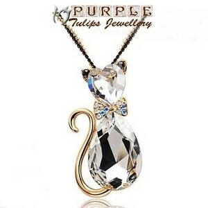 18CT Rose Gold Plated Super Cute CAT Necklace Made With Swarovski Crystals
