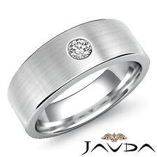 Round Cut Solitaire Diamond Mens Half Wedding Band Platinum 950 7mm Ring 0.15Ct