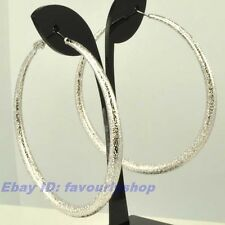 "2.28""8g BIG MATTED CIRCLE REAL 18K WHITE GOLD PLATED HOOP EARRINGS SOLID GP f11"