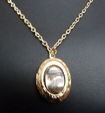 NATURAL SHELL PENDANT LOCKET NECKLACE ON GOLD PLATED CHAIN