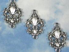10 Fleur de Lis Connectors Links Scroll Edge Charms Antiqued Silver Tone #P766