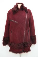 NWT | DROMe Women's Shearling Lamb Leather Jacket in Red | size M | RRP 1990€