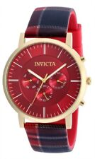 New Mens Invicta 20079 44mm Heritage Collection Plaid Silicone Strap Watch
