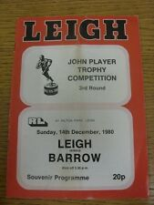 14/12/1980 programma Rugby League: Leigh V Barrow [John Player Trophy] (piegato).