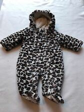 Baby Girls Clothes 0-3 Months-Soft Fur Animal Print Snowsuit Pramsuit All in One