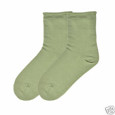 K.Bell Relaxed Loose  Roll Top Crew Ladies Sock Great For Diabetics Olive Green