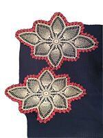 2 Vintage Crocheted Doilies Pineapple Pattern Diamond Shape Pink Edging