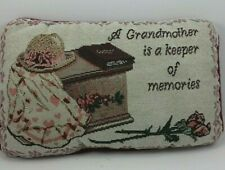 VTG Grandmother Needlepoint Throw Pillow Decorative Decor 12x7 GUC