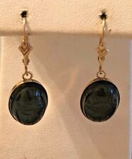14 K YELLOW GOLD CARVED BLACK AGATE  SCARAB EARRINGS.