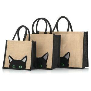 Jute Hessian Black Trim Shopping Bag - Peekaboo Cat