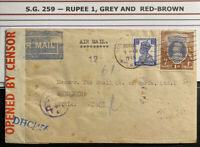 1943 Bombay India Censored Airmail Cover To Shell Co In Beyrouth Syria Sc#259
