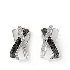 "BLACK AND WHITE DIAMOND 0.23 CT STERLING SILVER ""CROSSOVER"" HOOP EARRINGS HSN"
