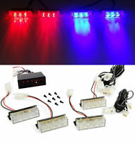 4x 3LED Car Police Strobe Flash Light Red Blue  Emergeny Warning Flashing Lamp