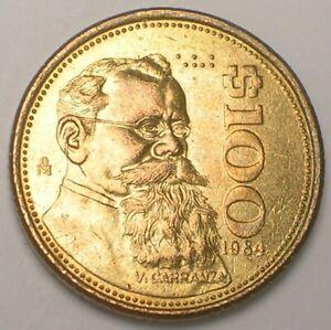 1984 Mexico Mexican 100 Pesos Carranza Eagle Coin XF+