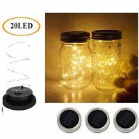 3-Pack Solar Powered 20LED Mason Jar Fairy String Light Lids Insert Garden Decor