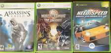 Xbox 360 3 Game Lot Assassins Creed Mortal Kombat Need For Speed