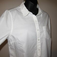 Sz M New Old Navy White Oxford Dobby Shirt Cotton NWT Placket Long Sleeve Pocket