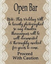 Rustic Style Open Bar Sign - Weddings Parties Showers - 8x10 Burlap style
