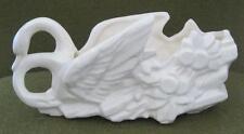 "McCoy Pottery Gloss White Double Swan 8"" Planter"