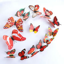 Red DIY Butterfly Wall Sticker Butterfly Home Decor Room Stickers Red 3D 12Pcs