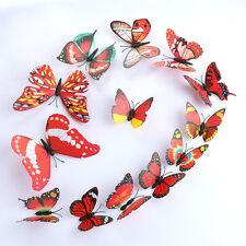 Rojo Mariposa HAZLO TÚ MISMO Pared Adhesivo Decoración Hogar Mariposa Habitación Pegatinas Rojo 3D 12Pcs
