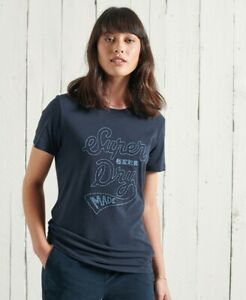 Superdry Classics Applique Tee  Size 10 Downhill Navy  H8