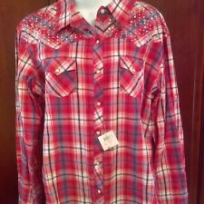 Panhandle Shirt XXL Pearl Snap Red Plaid Rhinestone Studs Western Top Blouse NWT