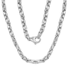 "14k White Gold Handmade Fashion Link Necklace 30"" 5mm 65 grams"