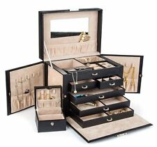 Portable Leather Jewelry Box Display Storage Organizer Case Locking Travel Gifts