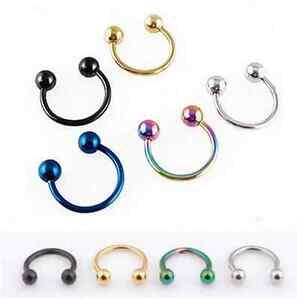100pcs Eyebrow/Lip/Nose Hoop Piercing Bar Tragus Horseshoes Captive Bead Rings