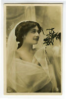 c 1908 French glamor LOVELY VEILED BEAUTY Lady glamour photo postcard