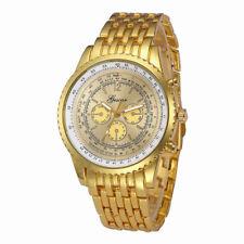 UK Mens Stainless Steel Wrist Watch Silver Gold Analog Quartz Luxury Watches