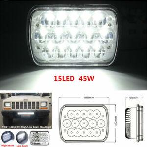 "7""X6'' 15LED HID Bulb Auto Light Crystal Clear Sealed Hi/Lo Beam Headlight Lamp"