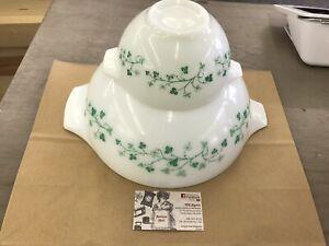 RARE Vintage PYREX Green Ivy Chip and Dip PROMO Cinderella Bowls 441 & 444